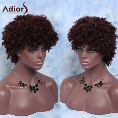 Buy RED BROWN Fluffy Short Afro Curly Full Bang Synthetic Capless Wig for $21.24 in GearBest store