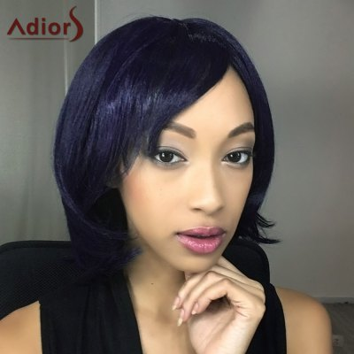 Buy Adiors Short Shaggy Straight Oblique Bang Synthetic Wig PURPLISH BLUE Health & Beauty > Hair Extensions & Wigs > Synthetic Wigs for $15.69 in GearBest store