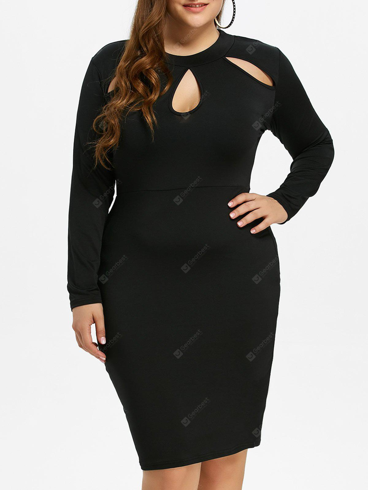 BLACK 2XL Plus Size Sheath Dress with Long Sleeves