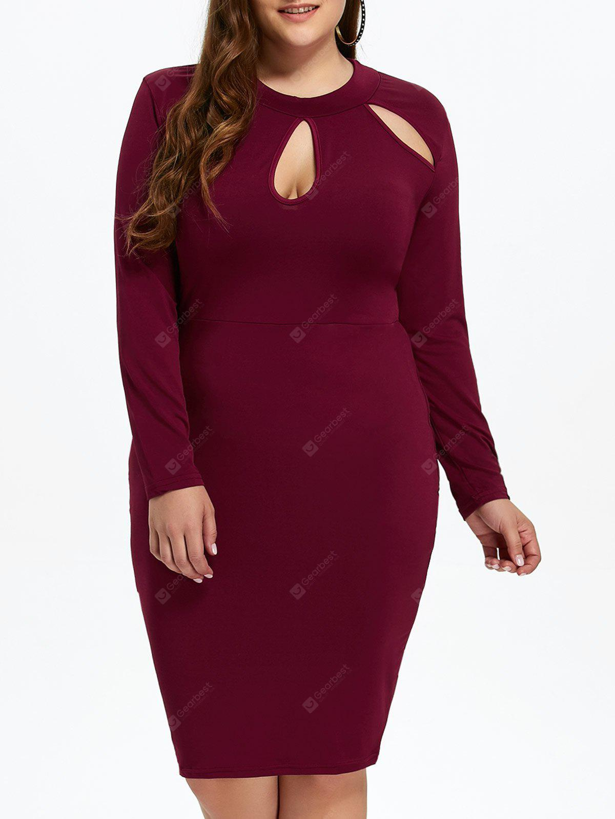 WINE RED 3XL Plus Size Sheath Dress with Long Sleeves