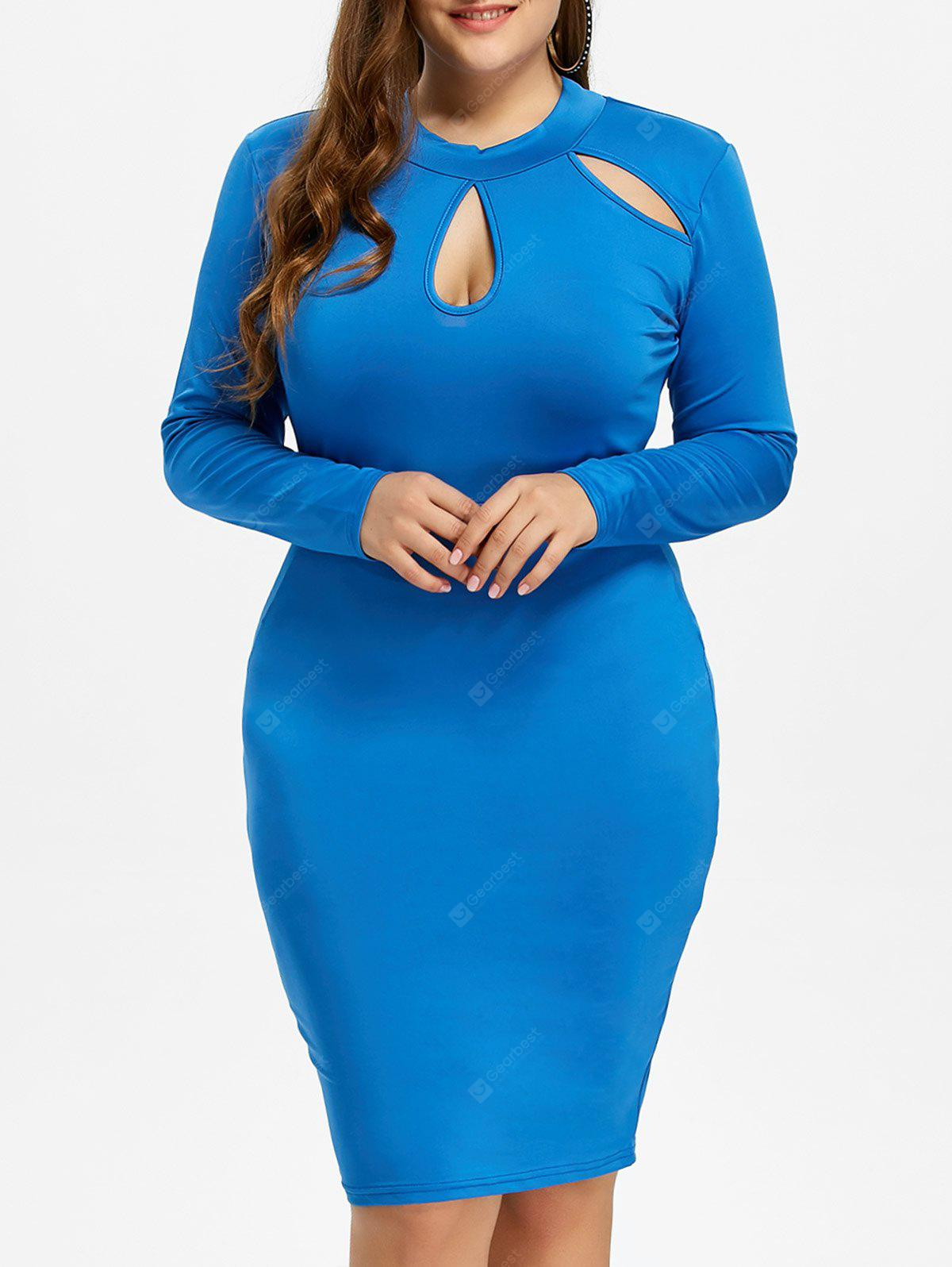 BLUE 3XL Plus Size Sheath Dress with Long Sleeves