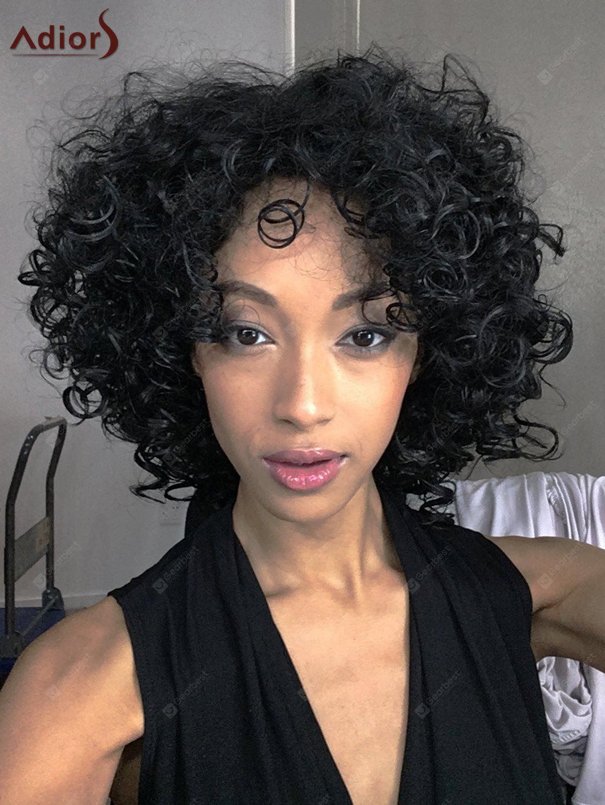 Moyen Afro Curly complet Bang synthétique capless perruque