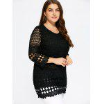 cheap Lace Insert Plus Size Blouse