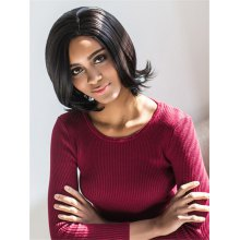Vogue Medium Side Parting Straight Black Women's Synthetic Hair Wig