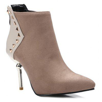 Triangle Rivet Pointed Toe Suede Panel Ankle Boots