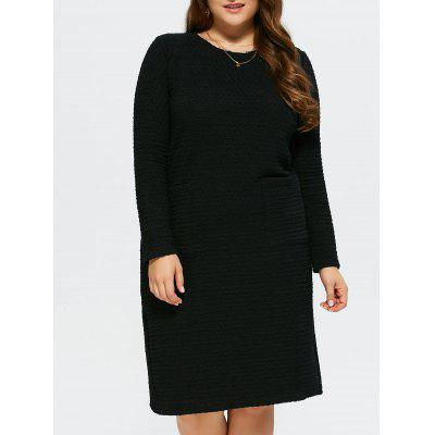 Buy BLACK Plus Size Knee Length Shift Dress for $39.62 in GearBest store