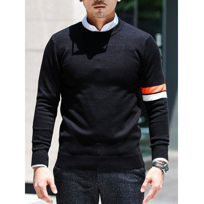 Generic Mens Athletic Crew-Neck Light Weight Striped Pullover Sweater