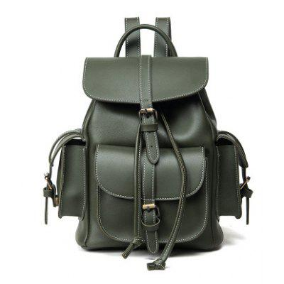 Stitching Multi Pockets Buckle Straps Backpack