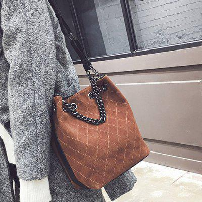 Checked Suede Shoulder Bag