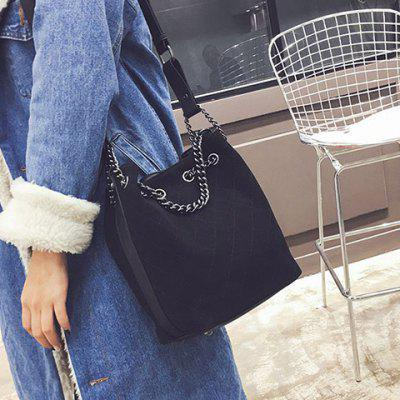 Checked Suede Bucket Bag