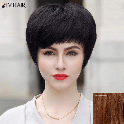 Buy AUBURN BROWN #30 Short Layered Inclined Bang Straight Bob Siv Human Hair Wig for $49.82 in GearBest store