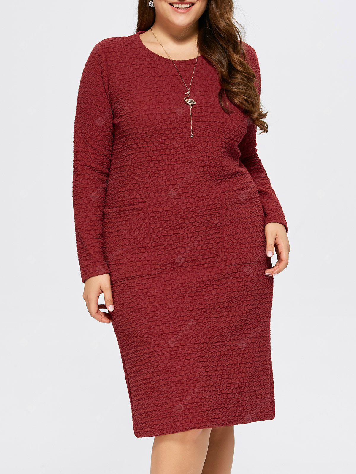 RED 4XL Plus Size Knee Length Shift Dress