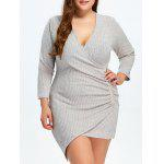 Low Cut Surplice Plus Size Mini Dress
