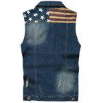 cheap Star Print Stripe PU Leather Spliced Denim Waistcoat