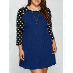 Plus Size Polka Dot Panel Kurzes Freizeitkleid - BLAU