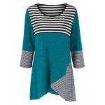 Plus Size Striped Tunic T-Shirt - PEACOCK BLUE