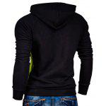 IZZUMI Raglan Sleeve Paneled Pullover Hoodie - BLACK AND GREEN