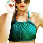 Alluring Halter Neck Self Tie Women's Green Bikini Set deal