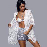 Openwork Row Edged Floral Lace Kimono Cover-Up - WHITE