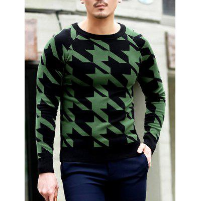 Slim Fit Round Neck Houndstooth Pullover Knitwear