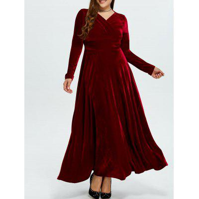 Plus Size Long Sleeve Velvet Maxi Swing Dress