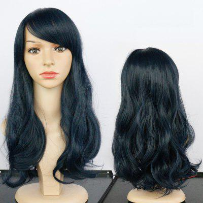 Buy DEEP BLUE Long Side Bang Fluffy Wavy Synthetic Wig for $15.29 in GearBest store
