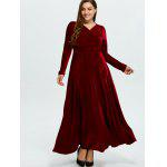 Plus Size Long Sleeve Velvet Maxi Swing Dress deal