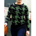 cheap Slim Fit Round Neck Houndstooth Pullover Knitwear