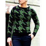 Slim Fit Round Neck Houndstooth Pullover Knitwear for sale