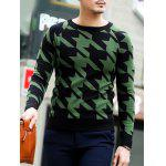 Slim Fit Round Neck Houndstooth Pullover Knitwear deal