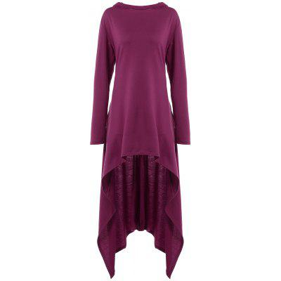 High Low Hooded Dress with Long Sleeves