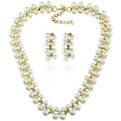Rhinestone Artificial Pearl Necklace with Earrings