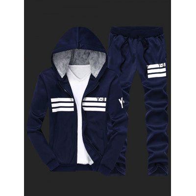 Zip Up Flocking Cool Zip Up Hoodies for Men and Striped Pants Twinset