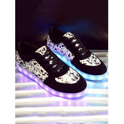 Trendy Lighted and Print Design Sneakers For Women