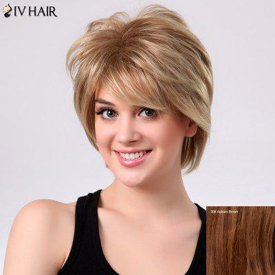 Buy AUBURN BROWN #30 Short Shaggy Layered Side Bang Straight Siv Human Hair Wig for $48.18 in GearBest store