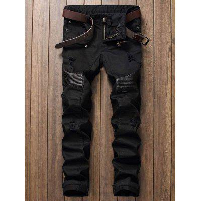 Zip Fly Straight Leg Biker Jeans