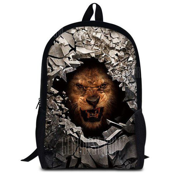 BROWN 3D Rubble Animal Print Backpack