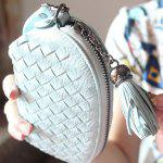 Buy PU Leather Tassel Weaving Coin Purse BLUE