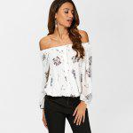 See Through Chiffon Floral Off The Shoulder Blouse - WHITE