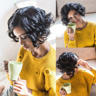 Towheaded Short Side Parting Black Curly Women's Synthetic Hair Wig