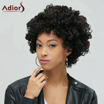 Buy BLACK Short Shaggy Full Bang Afro Curly Synthetic Hair Wig for $13.87 in GearBest store