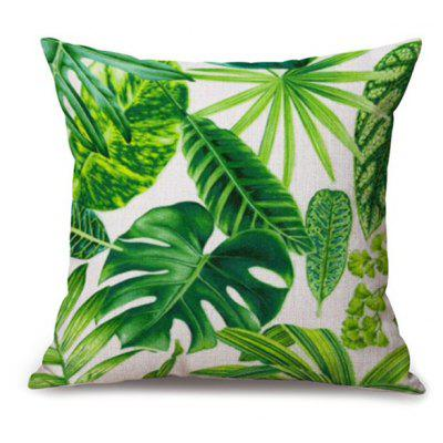Leaf Printed Sofa Seat Cushion Linen Pillow Case