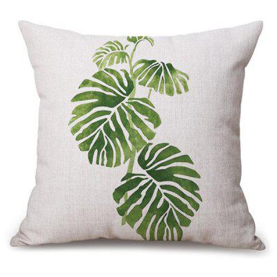 Leaf Printed Chair Backrest Throw  Linen Pillowcase