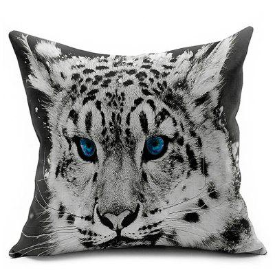 Linen Tiger Head Printed Car Seat Cushion Pillow Cover