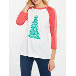 Christmas Tree Print Color Block T-Shirt - WATERMELON RED