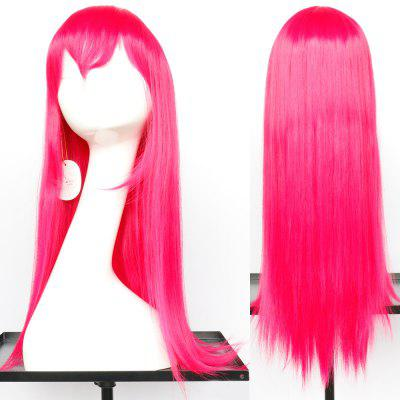 Long Oblique Bang Glossy Straight Synthetic Cosplay Anime Wig