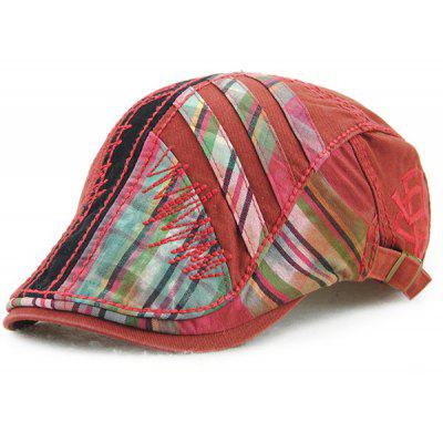 Plaid Cap Newsboy Stripy Cabbie com linha de costura