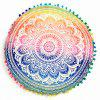 Sofa Mandala Flower Print Pompon Round Throw Covers - COLORFUL