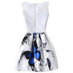 Graceful Butterfly Pattern High Waist Skater Dress - BRANCO