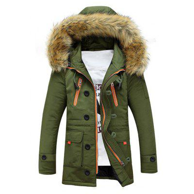 Faux Fur Hooded Zip Up Multi-Pocket Padded Coat new original kyocera 302fm94020 gear clutch assy a for fs 1300d 1320d 1110 1124 1128 1130 1135 km 2820